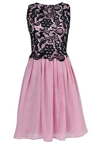 MACloth Women O Neck Lace Chiffon Short Formal Cocktail Party Dress Evening Gown Rosa