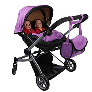 Babyboo Luxury Leather Look Twin Doll Pram Foldable Double Doll Stroller with Basket, Convertible Seat, Adjustable Handle, Swiveling Wheels, and Free Carriage Bag (Multi Function) - 9651A Purple