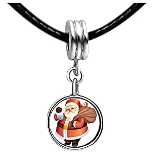 Chicforest Silver Plated Christmas Santa Carrying Gifts Photo Red Zircon Crystal July Birthstone Flower dangle Charm Beads Fits Pandora Charm