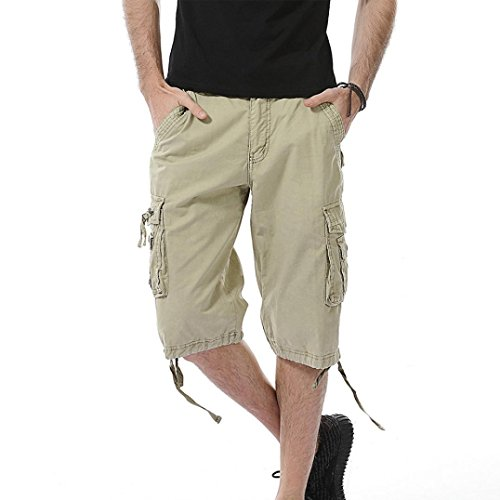 Daoroka Men Shorts Clearance Men Casual Pocket Sports Beach Work Cargo Pants Cotton Running Jogging Gym Solid Straight Trousers (34, Khaki) by Daoroka Men Pants
