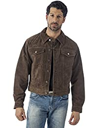 Reed's Men's Western Jean Style Suede Leather Shirt Jacket
