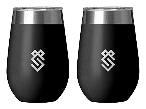 Summit Outdoor Wine Glasses, Vacuum Insulated Wine Tumbler, Stemless Metal Cup Design, Stainless Steel, Unbreakable, Shatterproof, Portable Wine Glass With Lid, Set of 2, Great For Travel Or Camping