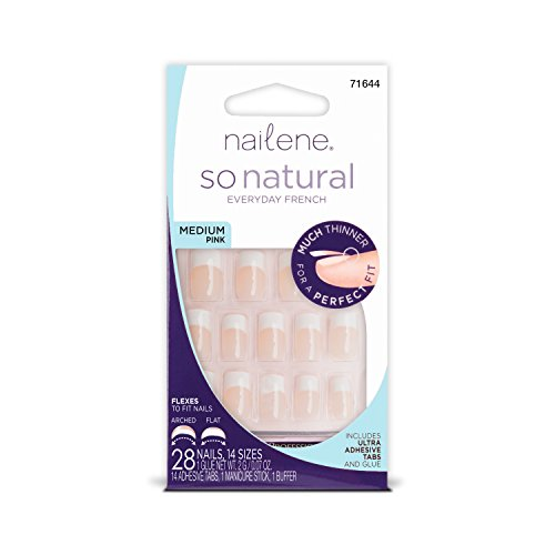 Nailene So Natural Ultra Flex Nail, Pink French, Medium, Package of 28 Nails