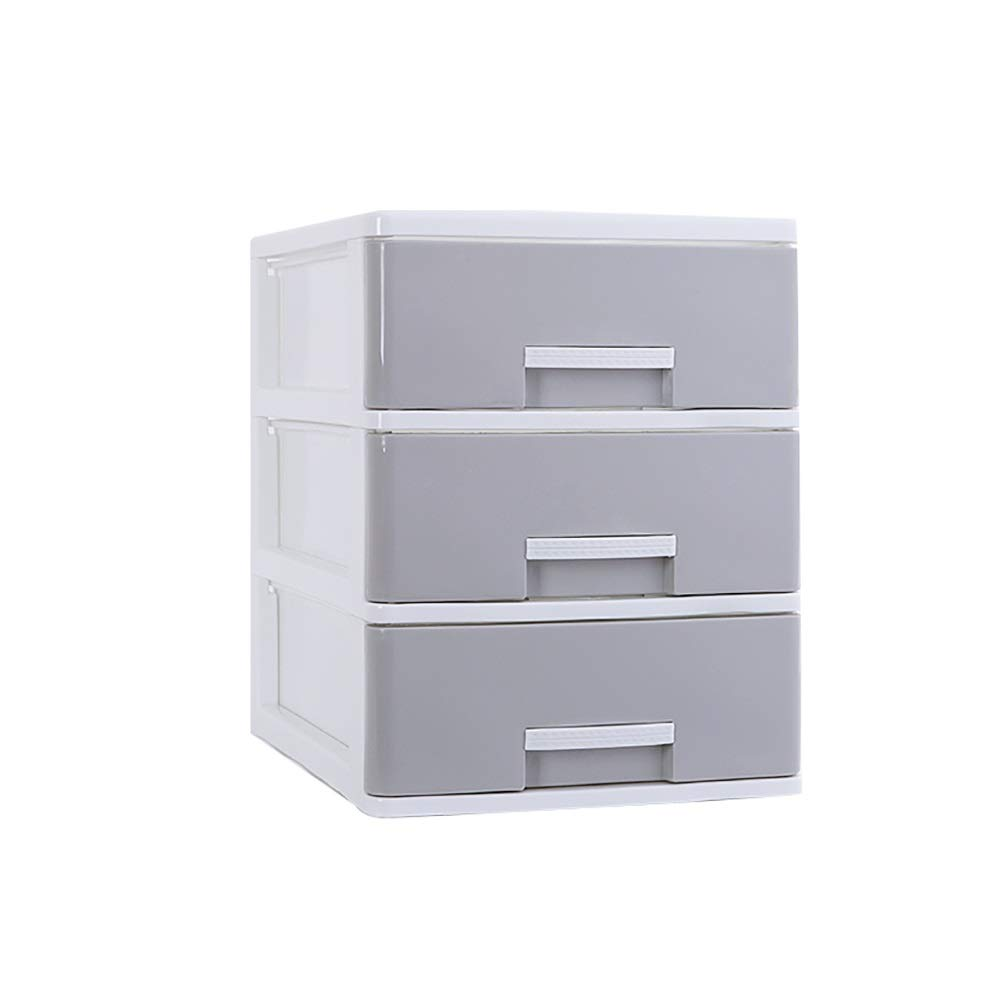 RRH-Desktop File Cabinet, Mobile File Cabinet, 3-Layer Drawer Storage Box, A4 Paper Data Cabinet File Box, Office Desktop Storage File Cabinet File Cabinet (Color : Gray, Size : B) by RRH