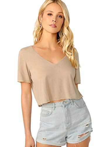 SweatyRocks Women's Short Sleeve Crew Neck Solid Basic Crop T-Shirt Khaki M