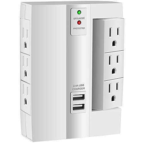 Wall Tap Surge Protector, Kasonic Top Power Strip 6 Power Outlets Plus 2 USB Ports Portable Wall-Mount Socket, Best Power Surge Protection Smart Charging for Home and Office (1 Pack)