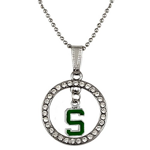 - Rosemarie Collections Women's Hoop Pendant Necklace Michigan State Spartans