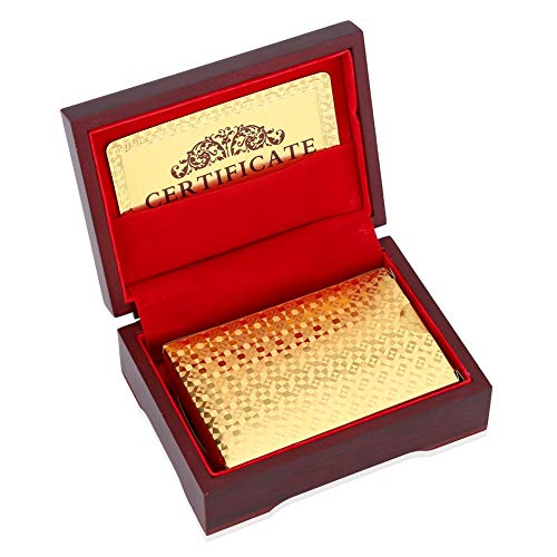 Nice Deck - Tbest 24K Gold Plated Playing Cards Poker Full Poker Deck Luxury Poker Cards Waterproof Fake Gold Foil Playing Cards Plastic Poker Game Cards with Box(Check)