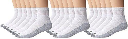 Dickies Men's 6 Pack Dri-Tech Comfort Quarter Socks, White, 18 Pair