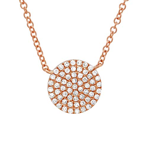 - 14k Rose Gold Single Round Disk Pendant 0.17ct Diamond Pendant Chains For Women & Teens