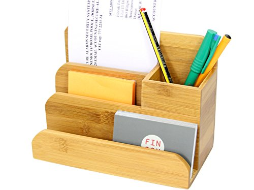 Small Desk Organizer (Small Desk Organizer, Pen Business Cards Notes Holder, Made of Bamboo)