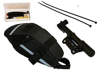 TukTek Bike Tire Repair Tool Kit w/ Waterproof Bicycle Bag and Tire Inflator Air Pump