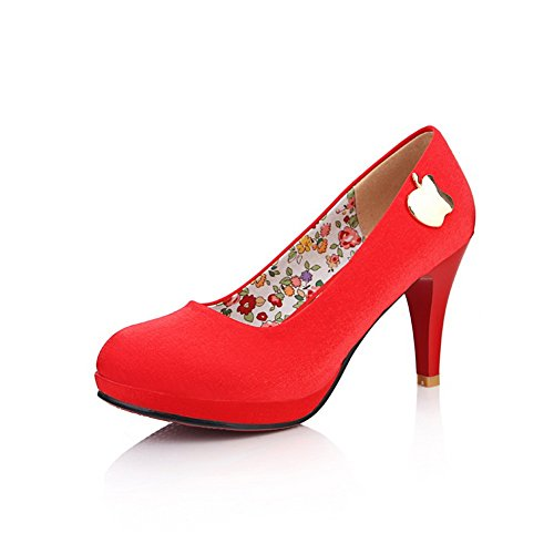 VogueZone009 Womens Round Toe High Heels Fabric Frosted Solid Pumps with Platform and Metalornament, Red, 4.5 UK
