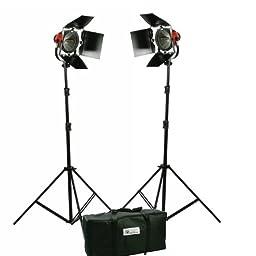 1600W Tungsten 2 Barndoor Stuido Video Film Continuous On Lighting Kit with Case RH-2