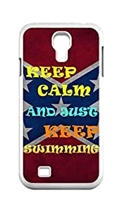 Cool Painting keep calm and just keep swimming Snap-on Hard Back Case Cover Shell for Samsung GALAXY S4 I9500 I9502 I9508 I959 -689