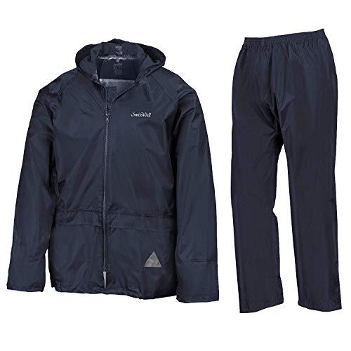 GEEK LIGHTING Men's Rain Suit Waterproof Hooded Raincoat & Pants (Navy Blue, X-Large)