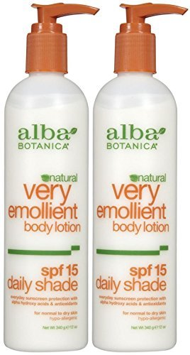 Alba Botanica Very Emollient Body Lotion, Daily Shade Formula, SPF 15-12 oz - 2 pk ()