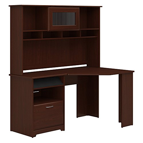 Bush Furniture Cabot Corner Desk with Hutch in Harvest Cherry