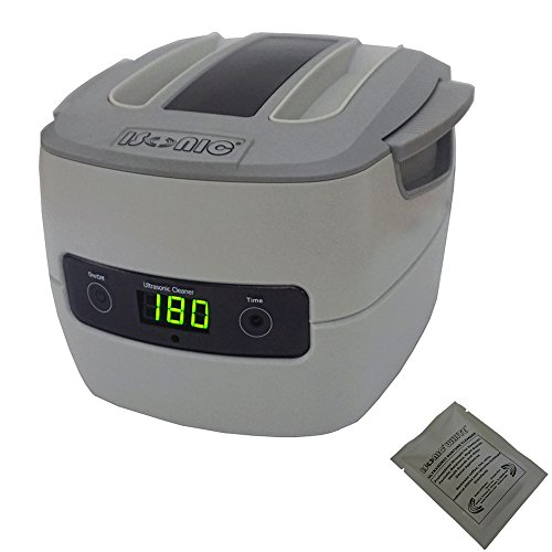 iSonic P4801-CE+2TSP P4801-Ce Commercial Ultrasonic Cleaner, 1.4L, 220V VDE Plug with Sample White Denture Cleaning Powder, Large, Beige