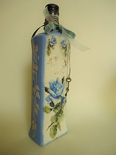 """""""Back in the game."""" Recycled bottle, Blue Roses and Cherubim. Decoupage and Faux Wedgwood"""