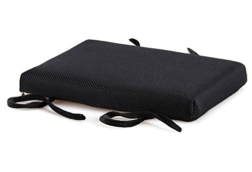 Chair Pads Summer 4-Color Stool Breathable Soft Memory Foam Pillows Thicken Rectangle Makeup Bench Piano Seat Pad with Ties (Black) by Chair Pads