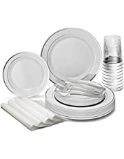 """ OCCASIONS"" 150-200 pcs SILVER set (25 guests) - Wedding Plastic Plates & cutlery - Disposable heavyweight dinnerware 10.5'', 7.5'' + Silverware w/double fork"