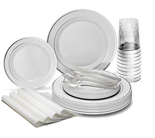 """ OCCASIONS"" 960pcs set (120 Guests)-Heavyweight Wedding Party Disposable Plastic Plate Set -120 x 10.5"