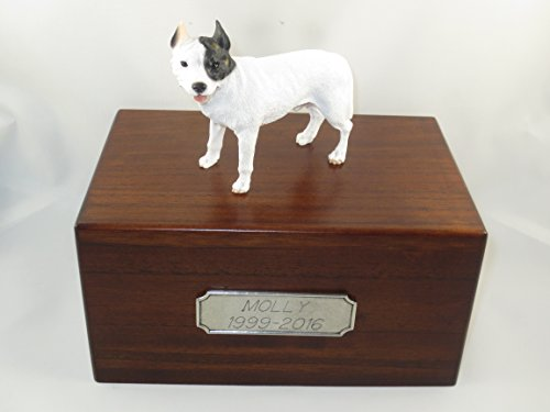 Beautiful Paulownia Medium Wooden Urn with White Pit Bull Terrier Figurine & Pewter Personalized Engraving (Pit Keepsake Bull Box)