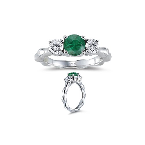 0.20 Cts Diamond & 0.69 Cts Natural Emerald Three Stone Bamboo Style Ring in 18K White Gold-9.0