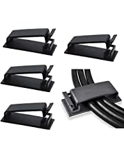 SOULWIT® 50Pcs Self Adhesive Cable Management Clips, Large Cable Organizers Wire Clips Cord Holder for TV PC Laptop Ethernet Cable Desktop Home Office (Black)