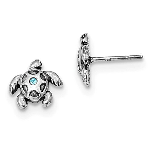 (925 Sterling Silver Antiqued Light Blue Crystal Turtle Post Earrings)