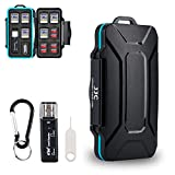 Camera Memory Card Case JJC SD TF Micro SD SIM Card Case Holder Organizer for 10 SD 16 TF 2 Micro SIM & 2 Nano SIM Cards with a USB Card Reader, Card Removal Tool & Carabiner Water-Resistant
