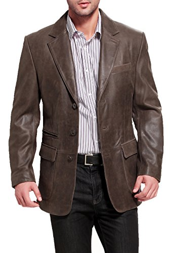 - BGSD Men's Mark 3-Button Distressed Cowhide Leather Blazer,Brown,X-Large