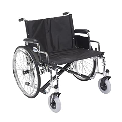 """Drive Medical Sentra EC Heavy Duty Extra Wide Wheelchair with Various Arm Styles Arms, Black, 26"""""""
