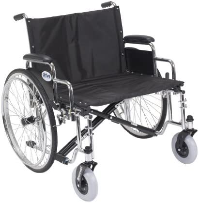 Drive Medical Sentra EC Heavy Duty Extra Wide Wheelchair with Various Arm Styles Arms, Black, 26""