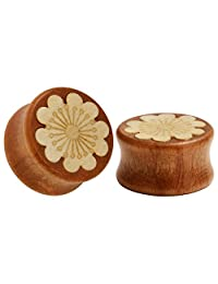 KUBOOZ Nature Red Sandalwood Wooden Ear Plugs Concise Style Heart/Flower Design Ear Pierced 8-25mm