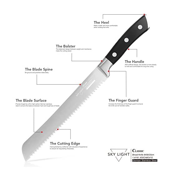 Bread Knife Serrated Slicer Kitchen Knife 8 Inch Forged Scalloped Blade High Carbon Stainless Steel Razor Sharp Ergonomic Handle Non Slip 5 German high carbon stainless steel - The 8 inch bread knife blade precisely forged by high quality stainless steel X50CrMoV15 / 1.4116 at 58 Rockwell Hardness, It is wear resistant, durable, rust and stain resistant Multi-functional knife - The bread slicer easy to cut bread, cake, pastries, tomatoes, pineapple etc, the serrations along the edge help you to slice through crusty bread with minimal crumbs and without compressing the soft inside Razor Sharp Serrated Edge - The forged serrated edge blade is super sharp and keeps the sharpness long, do not need to sharpen it like other knives
