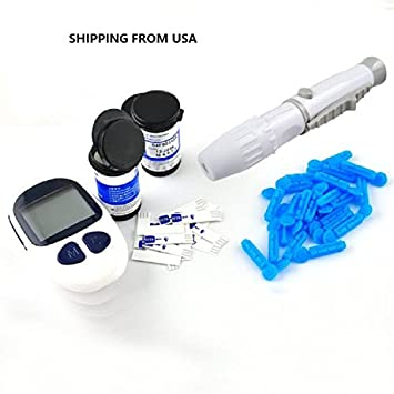 ixaer (Shipping from USA) Diabetes Monitoring Kits, 50 Free Test  Strips,Lancets-Electronic Glucometer Digital