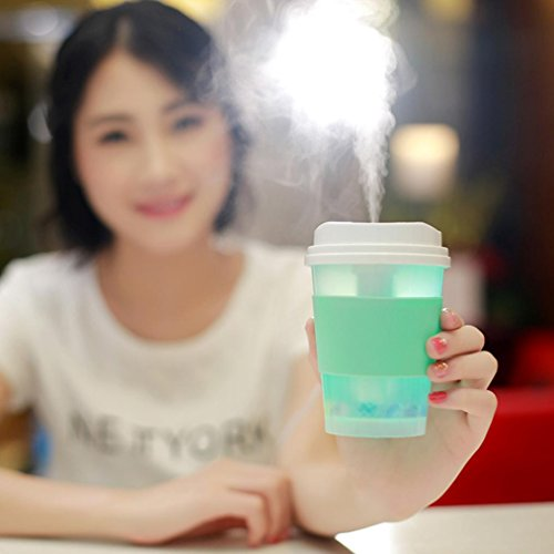 Coerni 300ml Cute Milk Cups USB LED Glowing Humidifier Essential Oil Diffuser for Car, Office, Home (Green) by Coerni (Image #1)