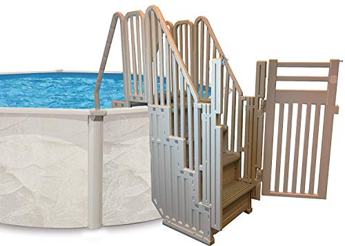Confer Entry System for Above Ground Pools | Warm Gray Frame and Gray Steps
