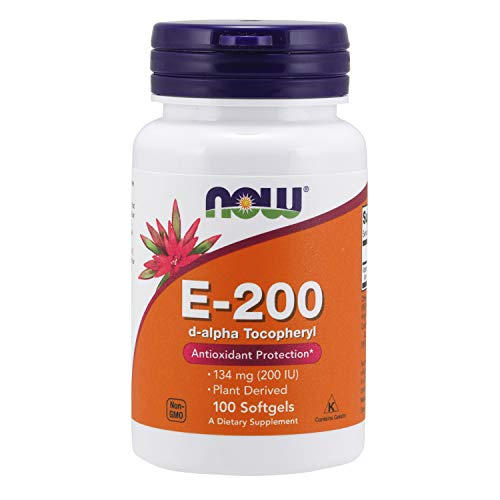 NOW Supplements, Vitamin E-200 IU, D-Alpha Tocopheryl, Antioxidant Protection*, 100 Softgels