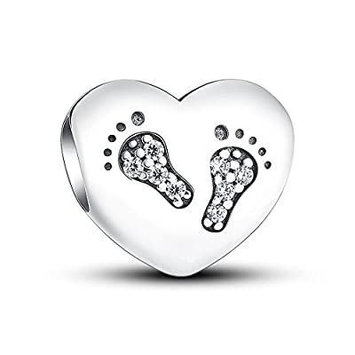 Glamulet Art - Footprints Heart Charm -- 925 Sterling Silver from Glamulet