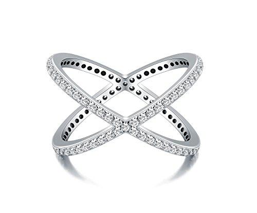 "925 Sterling Silver Ring, Boruo Cubic Zirconia CZ Criss Cross ""X"" Long Ring Size 7"