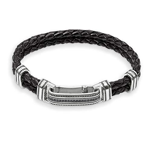 - DLSHS 20Cm Two Levels Black Plaited Leather Bracelets, Most Fashion 925 Sterling Silver Bracelet Jewelry Gift For Men Women200