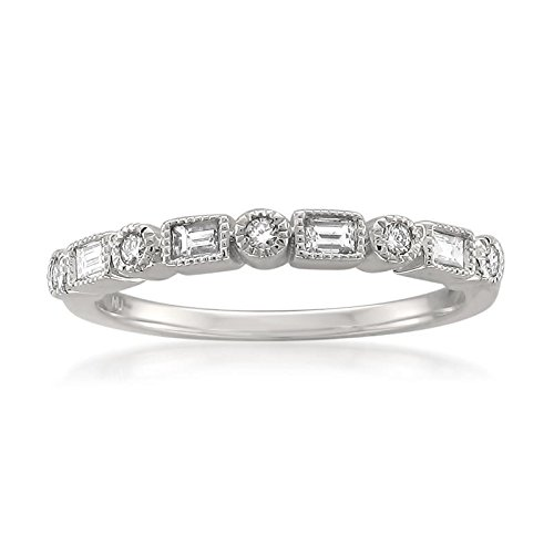 Platinum Round & Baguette Diamond Bridal Wedding Band Ring (1/4 cttw, I-J, SI2-I1), Size (Platinum Diamond Wedding Anniversary Ring)
