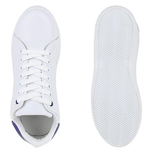 Stiefelparadies Damen Sneaker Low Basic Flandell Weiss Blau Metallic