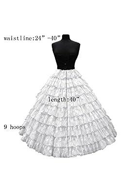 DYS Women's Full Length Petticoat Slips Bridal Tulle Lace Crinoline Underskirt