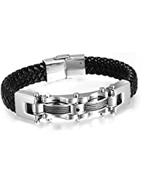 Men's Punk Stainless Steel Genuine Leather Cable CZ Cuff...