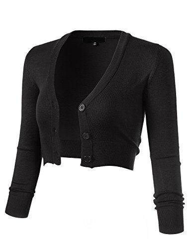 ARC Studio Women's Solid Button Down 3/4 Sleeve Cropped Bolero Cardigans 2XL Black CO129