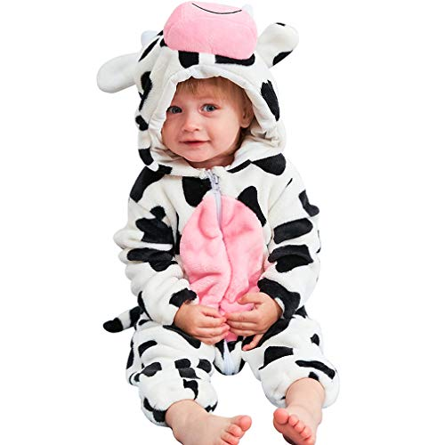 Infant Cow Costumes (MICHLEY Unisex Baby Boy Girl Hooded Romper Winter Animal Cosplay Jumpsuit Pajamas, Cow, 2-5months, Size)